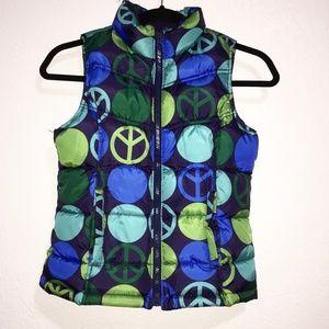 Old Navy Girls Zip Front  PEACE Puffer vest. SZ L